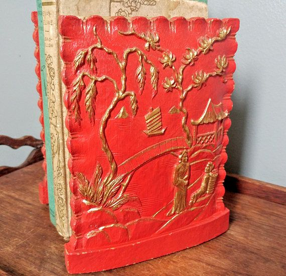 Pair Vintage Red Asian Bookends // Syroco Wood Japanese