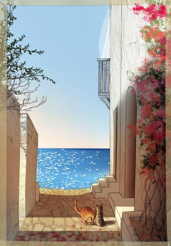 Grecia. Luce di fine estate. Pen + soft pastels + Photoshop #illustration #art #poetry #graphics #Greece #cats