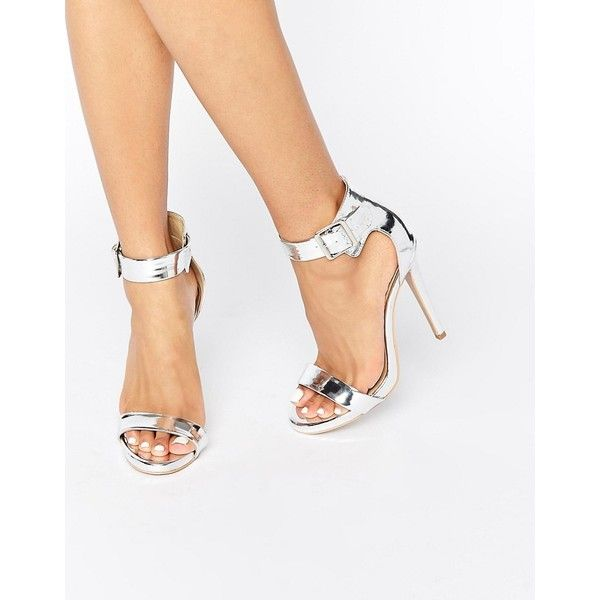 Truffle 2 Part Heeled Sandals ($30) ❤ liked on Polyvore featuring shoes, sandals, silver, high heel sandals, ankle strap sandals, silver shoes, high heeled footwear and heeled sandals