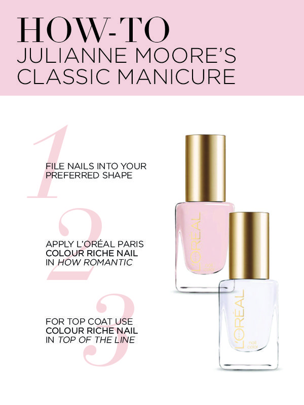 How to get the perfect manicure for a red carpet event, as inspired by Julianne Moore's 2016 Golden Globes look.