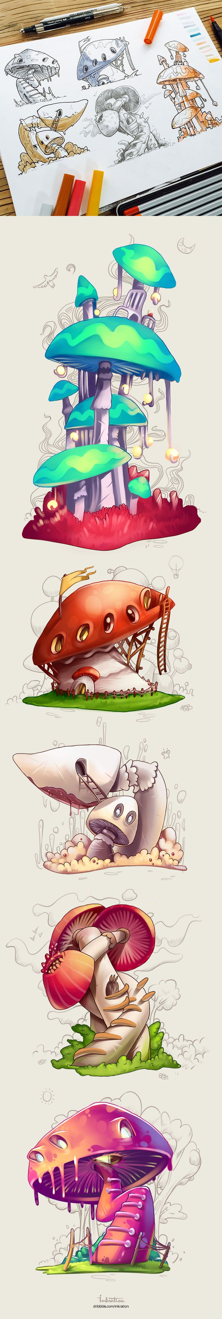 New concepts for indie-game are already here. Hope you like this mushroom-like houses and chose one for yourself :)