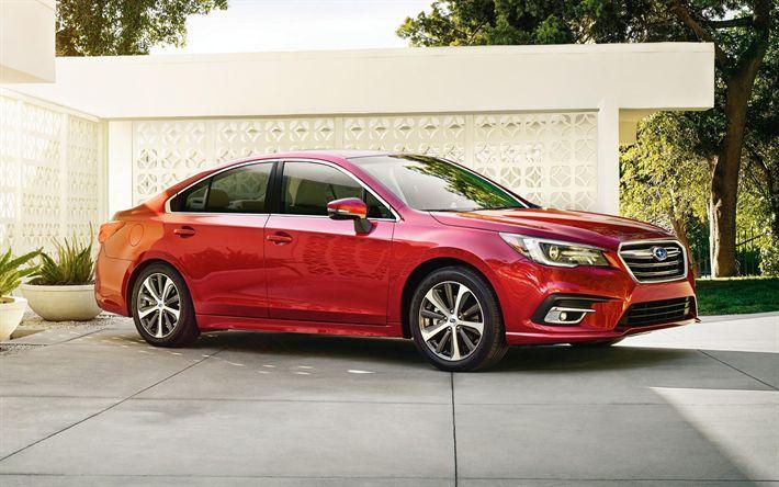 Download imagens Subaru Legacy, 2018, Limousine, novo Legacy, vermelho Legado, Carros japoneses, carros novos, Subaru