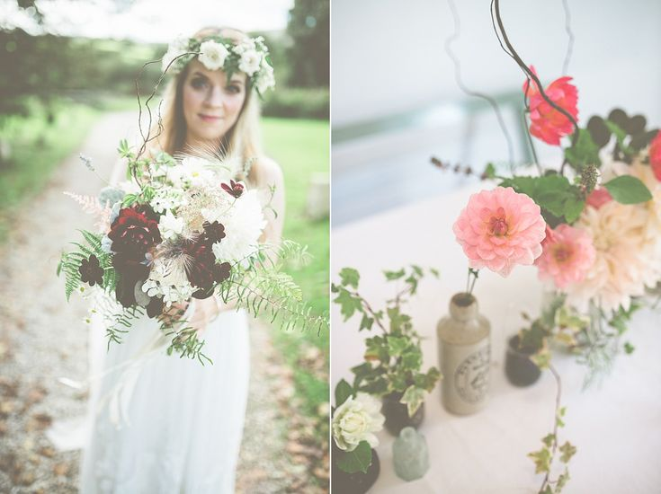 Wild Flowers and a Floral Crown for a Rustic, Cornish Orchard Wedding Big beautiful oversized wedding bouquet featuring featuring chocolate cosmos, dahlia, astilbe, ferns, twigs, chamomile.  From 'Wild Flowers and a Floral Crown for a Rustic, Cornish Orchard Wedding'  http://www.modernvintageweddings.com/