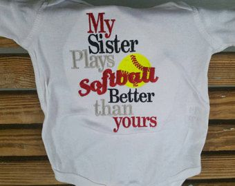 Softball Sister - Sister Shirt - Softball Sayings - Softball Gifts - Softball Shirt - Sibling Shirt - Embroidered Shirt - Game Day Shirt by fabuellaboutique. Explore more products on http://fabuellaboutique.etsy.com