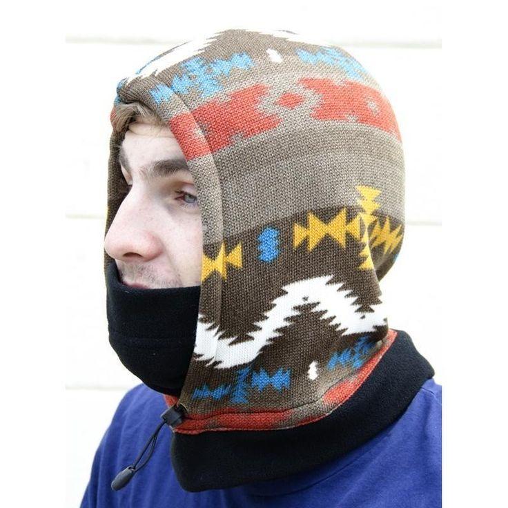Men Multi Color Aztec Print Extreme Cold Pull Over Hoodie Balaclava New NWT #Simi #Balaclava