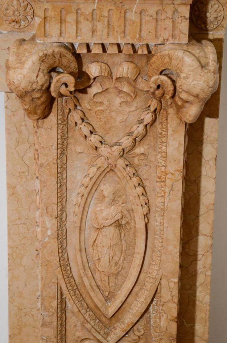 Edwardian 19 в. Сиенна мрамор каминные с сложной резьбой - традиционный камин элементы - Деринг зал