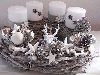 Adventkranz Weihnachten Shabby Advent Kugeln Unikat Lichterkette