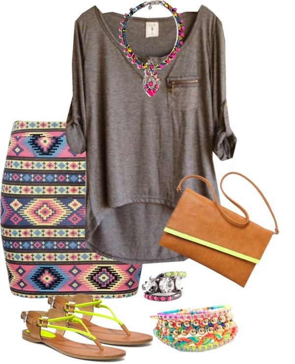 """Challenge Item - Grey Top - Laidback Aztec"" by trinavokes on Polyvore"