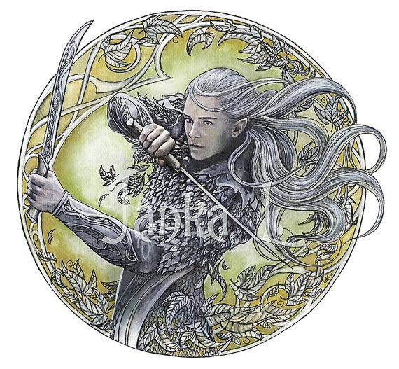 Original painting  Warrior of Mirkwood  yellow by JankaLart