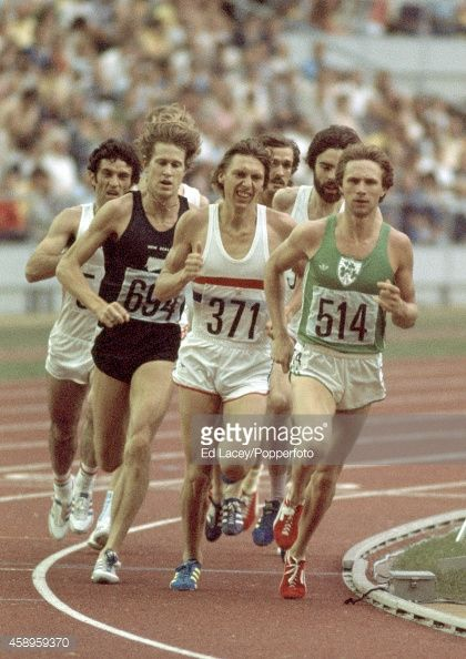 Action during the final of the men's 1500 metres, left to right, gold medallist John Walker of New Zealand (694), David Moorcroft of Great Britain (371) who placed 7th and Eamonn Coghlan of Ireland (514) who placed 4th, at the Summer Olympic Games in Montreal, circa July 1976.