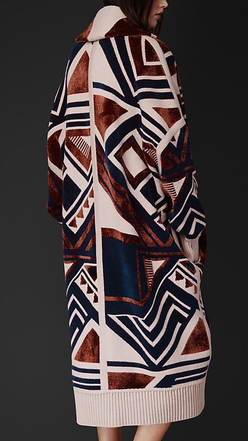 Manteau plaid en maille géométrique | Burberry