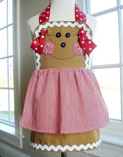 Hoow freaking cute!    Gingerbread Girl, Snowman & Plain Knot Aprons for Children E-pattern @Elizabeth Rodriguez if I buy the pattern and fabric will you make it?
