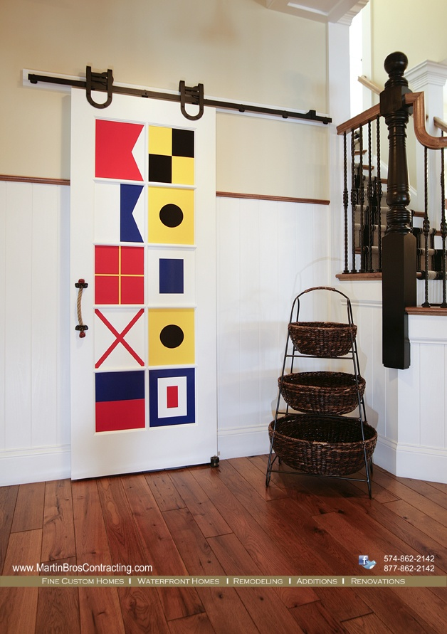 Nautical Themed Pantry Door With Barn Door Hardware And