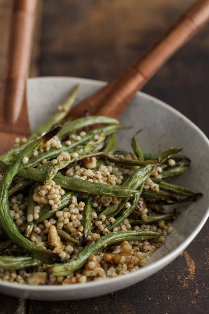 Garlic Green Beans with Sorghum and Walnuts | Naturally EllaSide Dishes, Food, Green Beans, Veggies Side, Eating Healthy, Walnut Vegetarian, Drinks, Beand Bowls, Garlic Green