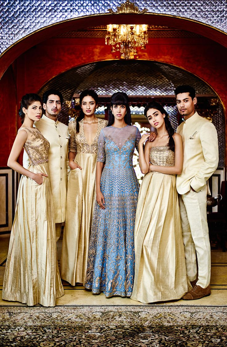 The alluring and charming bride Nayantara, in the Niyasha vintage blue gown with her bridesmaids at her #cocktail evening. To shop online: shop.anitadongre.com #TheWeddingDiaries #AnitaDongre #1135AD