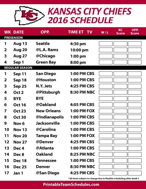 Kansas City Chiefs Football Schedule. Print Schedule Here -http://printableteamschedules.com/NFL/kansascitychiefsschedule.php