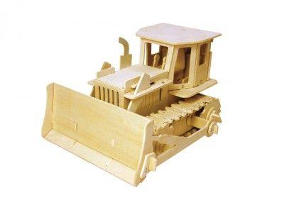 RoboTime - Drevená stavebnica - Buldozér na diaľkové ovládanie
