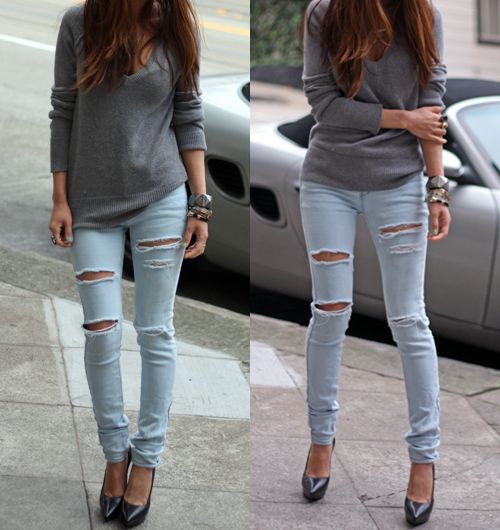 1000  images about Ripped Jeans on Pinterest | Elle macpherson ...