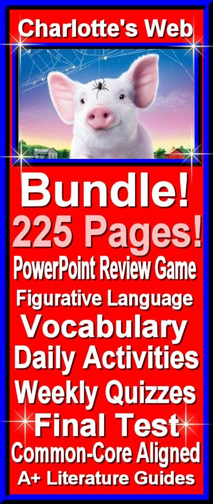 225 Charlotte's Web Bundle! Complete Novel Guide and Assessment Pack PLUS PowerPoint Jeopardy Review Game!!