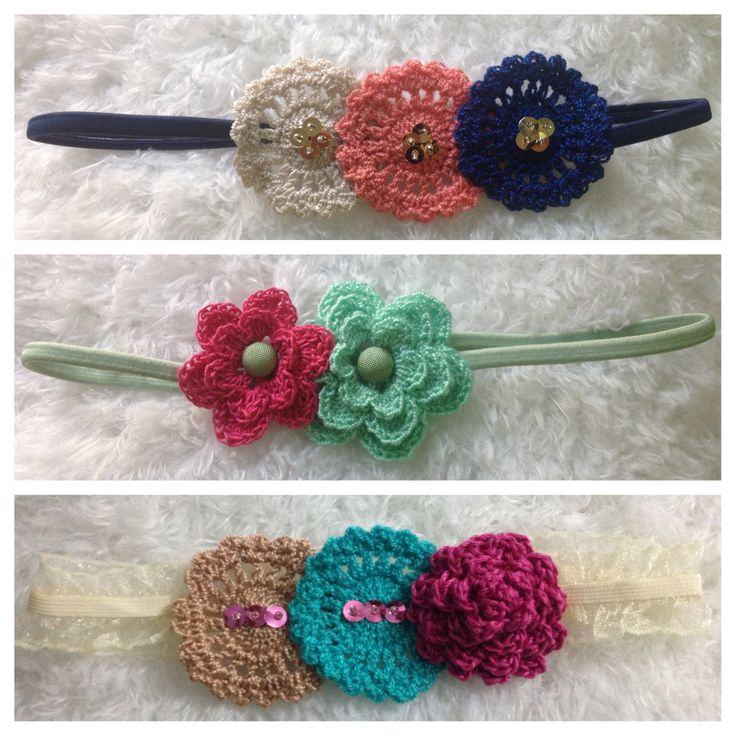 Cintillos con aplicaciones en crochet mis creaciones en - Aplicaciones en crochet ...