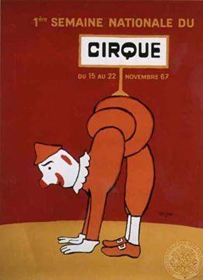 Les Arts Décoratifs - 1ère semaine nationale du cirque, Savignac, 1967 Raymond Savignac (1907-2002)