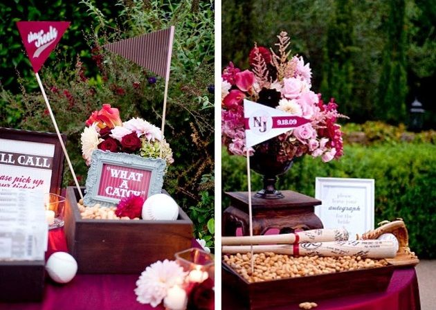 "Baseball wedding decorations..love the ""What a Catch"" sign and baseball bats in peanuts."