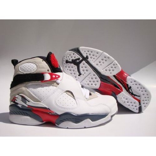 Nike Retro Air Jordan 8 Men (White Grey Red) 1001 For $53.00 Go To
