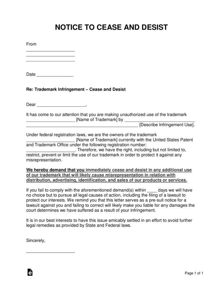 021 Trademark Infringement Cease And Desist Letter