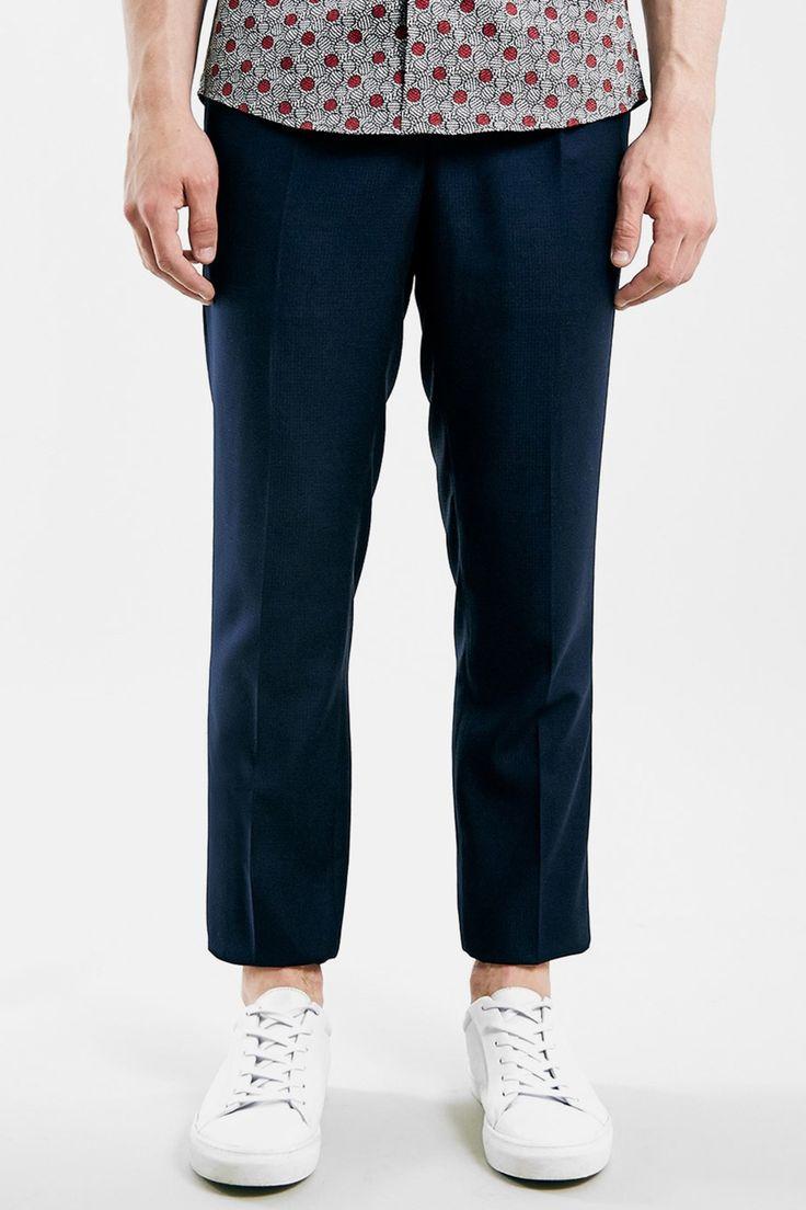 Navy Crop Slim Fit Trousers by TOPMAN on @nordstrom_rack
