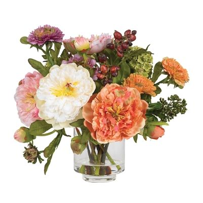 """ARTIFICIAL FLOWER ARRANGEMENT: MIXED PEONY W/GLASS VASE Nothing says """"wow"""" quite like this striking mixed peony artificial flower arrangement. Featuring several distinct blooms in varying stages of maturity, the mixture of textures and colors that this mixed peony artificial flower arrangement offers is both eclectic and bold. Standing 10"""" high, this mixed peony artificial flower arrangement comes in a glass vase with liquid illusion, which completes its elegance quite nicely."""