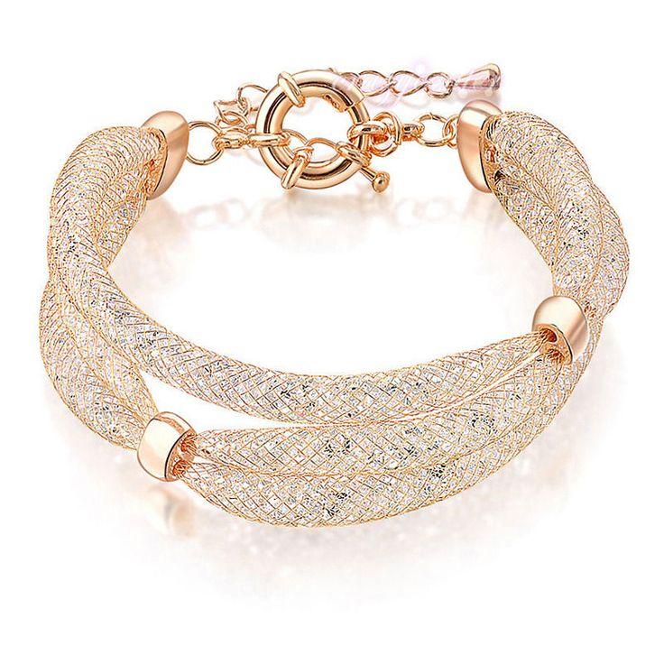 Fashion jewelry crystal mesh bracelet stardust layers rose gold GP bracelet B877 #crazycenter