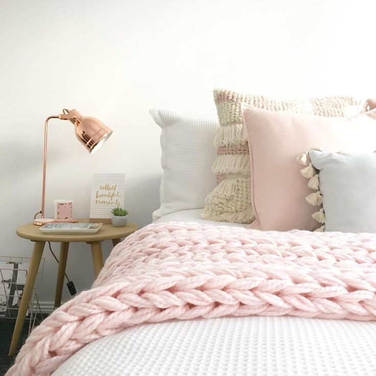 @stylingbytiffany on Instagram: bedroom, pink, home decor, bedside table, knit throw