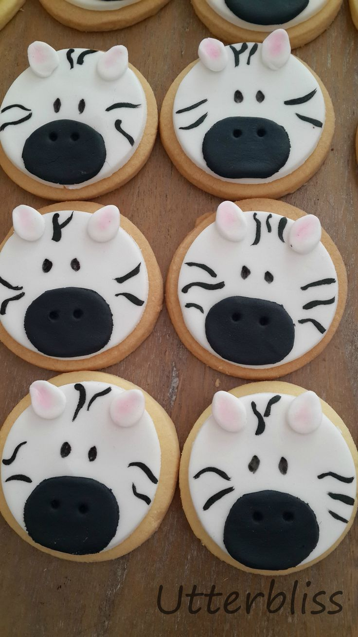 Zebra iced biscuits.