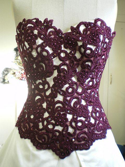 Wine guipure lace corset