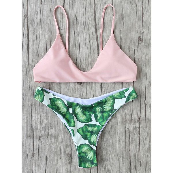 Leaf Print Sexy Bikini Set ($14) ❤ liked on Polyvore featuring swimwear, bikinis, pink, sexy swim wear, patterned bikini, triangle swimwear, triangle bikinis and bikini two piece
