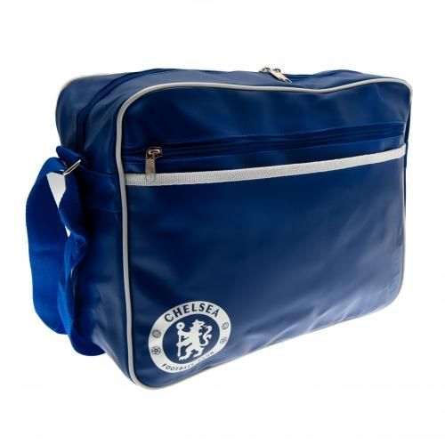 Chelsea polyester messenger bag with zipped and velcro pockets. Adjustable shoulder straps. Approx 40 cm x 28 cm x 9 cm. Official Licensed Chelsea bag. FREE DELIVERY on all of our football gifts