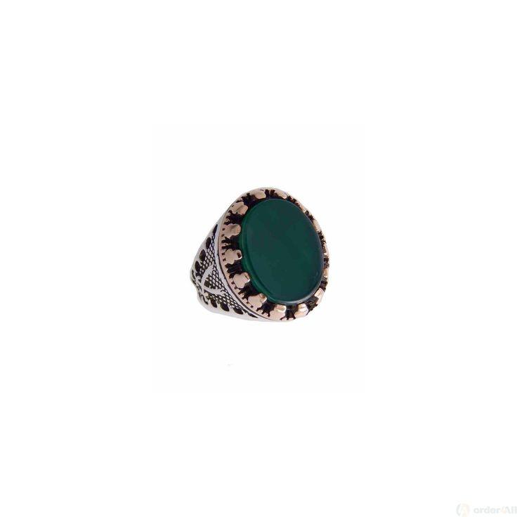 Δαχτυλίδι Retro με Oval Πράσινη πετρα