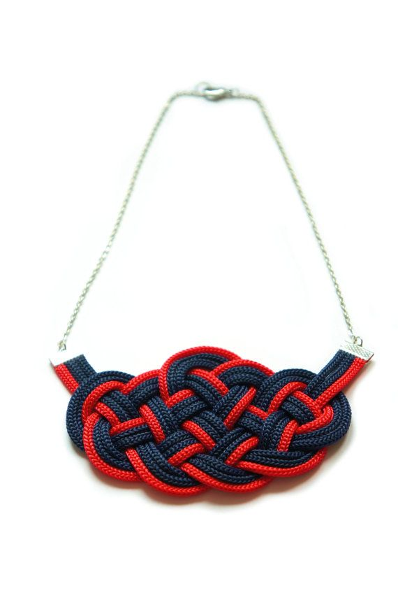 ♥ Sailor Knot Necklace, made of:    - Red and Blue Cords  - Silver color chain and metallic findings - Silver color clasp    Available Color Options :    - Blue Navy / Red (as in the pictures)  - Blue Navy / Sky Blue  - Red / Sky Blue    Dimensions:  Knot is about 12 x 7 cm (4.7 x 2.8 inches).  The necklace is 50 cm (19.7 inches) long.    Here you can find the Sailor Bracelet and Earrings:  https://www.etsy.com/listing/198692028/infinity-bracelet-sailor-knot-bracelet?ref=shop_home_active_1…