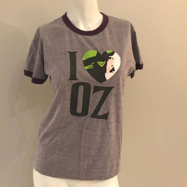 WICKED T SHIRT BROADWAY WIZARD OF OZ  I LOVE OZ PURPLE JUNIORS LARGE #AmericanApparel #ShortSleeve
