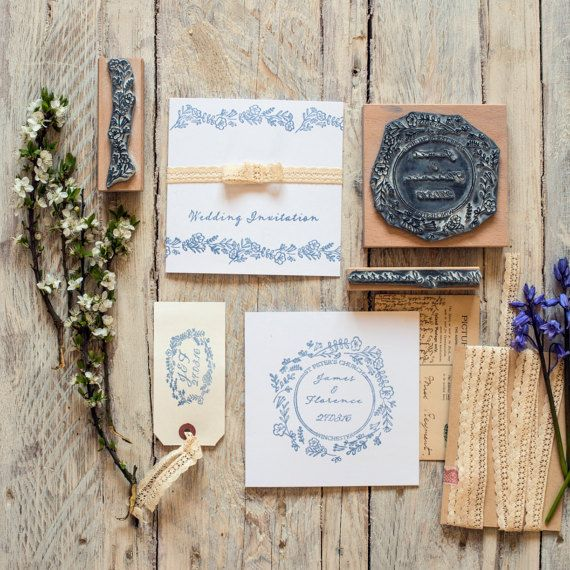 Wild Flower Garland Personalised Wedding Rubber by noolibirdstamps