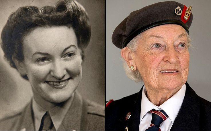 """VERA HAY, Normandy Veteran, Then and Now """"The need of the casualties both our own troops and the German prisoners of war. They all were patients to us. They needed rehydration, rest, morphine to keep them comfortable and we were using the new penicillin""""."""