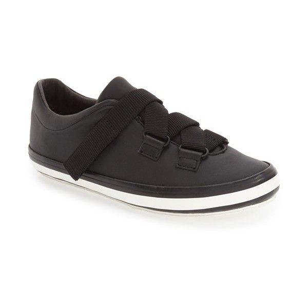 Women's Camper 'Portol' Sneaker featuring polyvore, women's fashion, shoes, sneakers, black leather, campers sneakers, camper shoes, low profile sneakers, black trainers and velcro sneakers