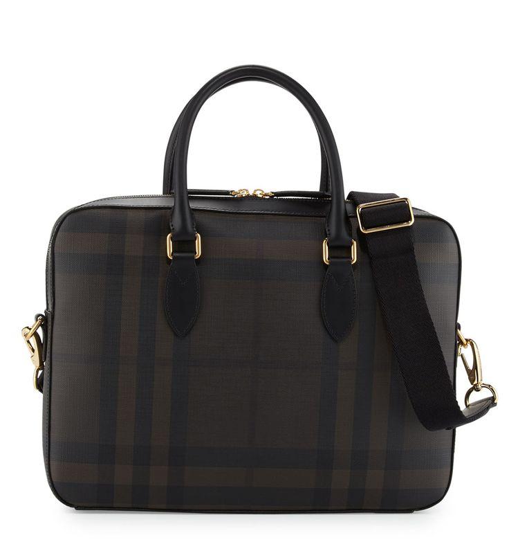 Burberry Hambleton Smoke Check Briefcase Chocolate/Black         $229.00