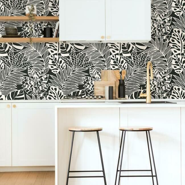 Jungle Leaves Wallpaper In Black And White From The Silhouettes Collec In 2021 Leaf Wallpaper Room Visualizer Burke Decor