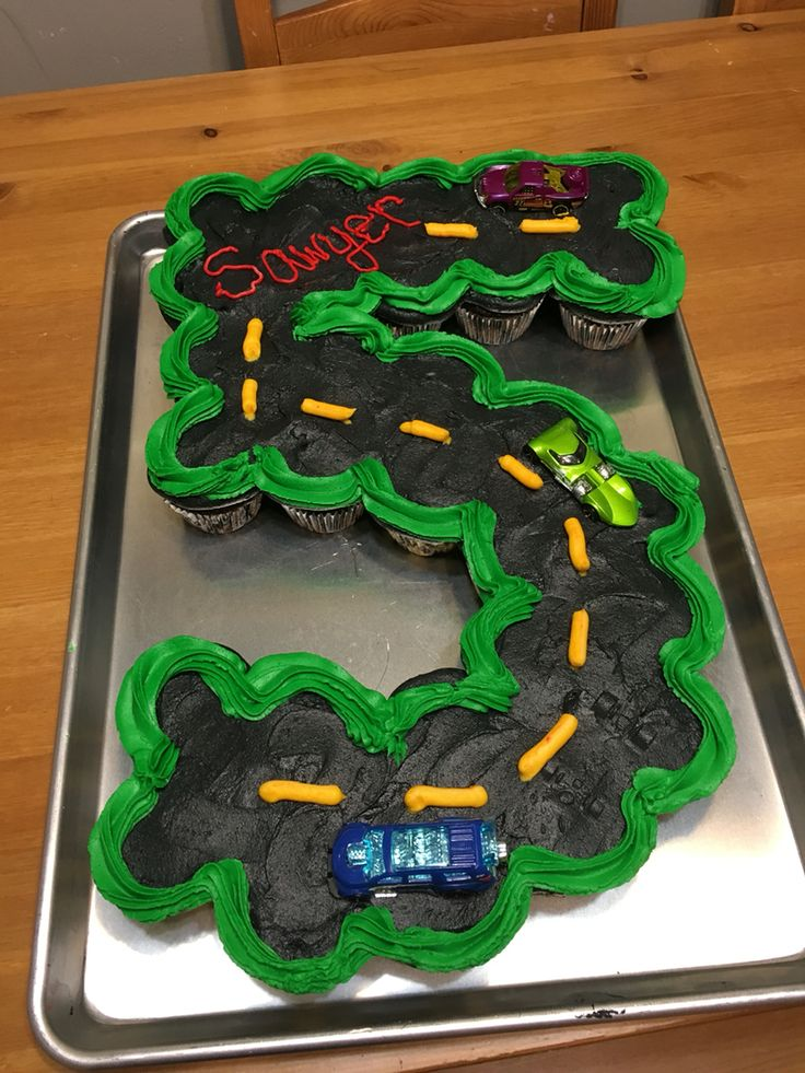 Hot Wheels Birthday Fifth Birthday Cupcake Cake Party