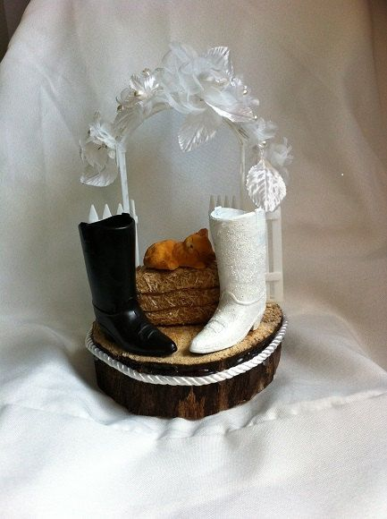 Bride and groom cowboy boot wedding cake topper