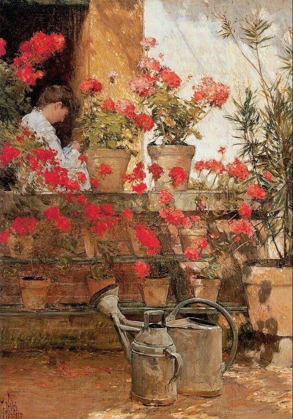 Geraniums-Childe Hassam  I have a cross stitch pattern for this
