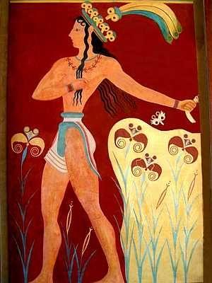 Il Principe dei Gigli, ca. 2000 a.C., affresco. Dal Palazzo di Cnosso, Isola di Creta, Grecia. Museo Archeologico, Heraklion, Isola di Creta, Grecia.