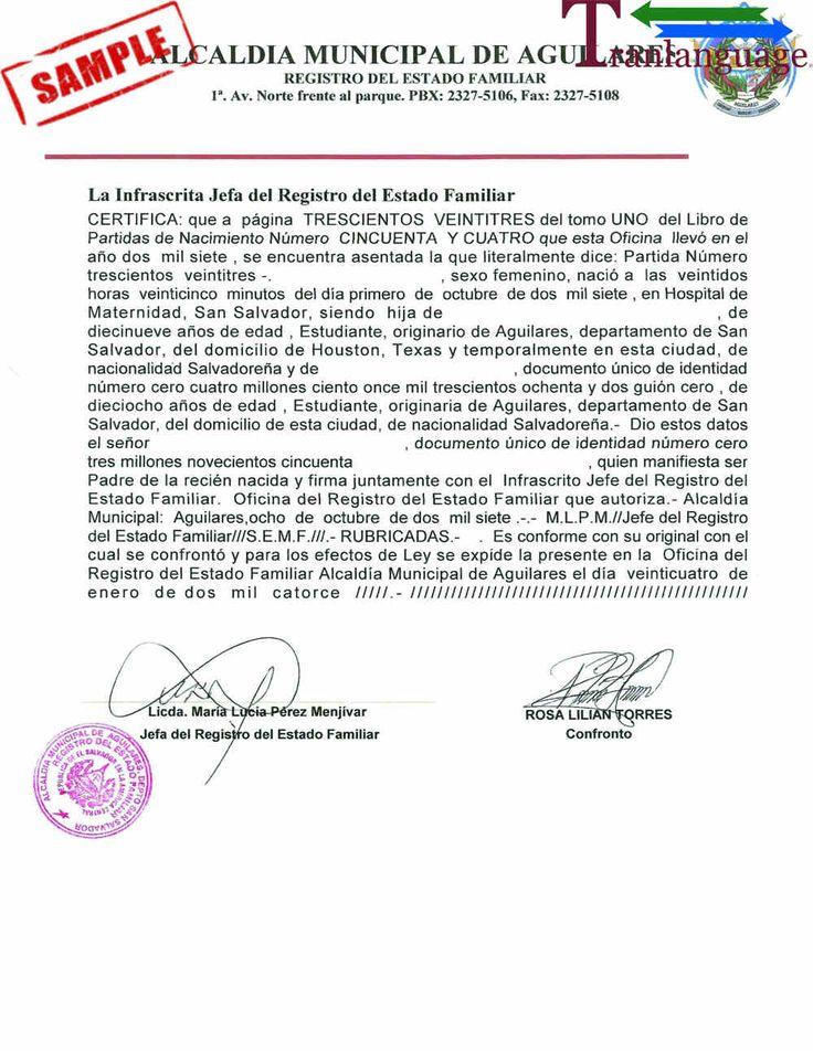 Birth Certificate El Salvador pertaining to Spanish To