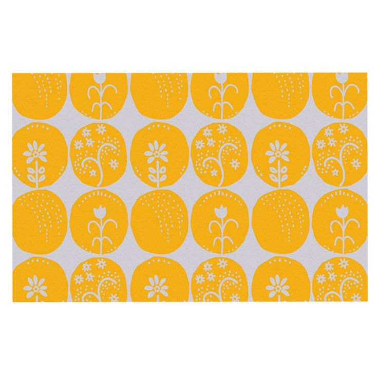 "Anneline Sophia ""Dotty Papercut Yellow"" Circles Gray Decorative Door Mat"